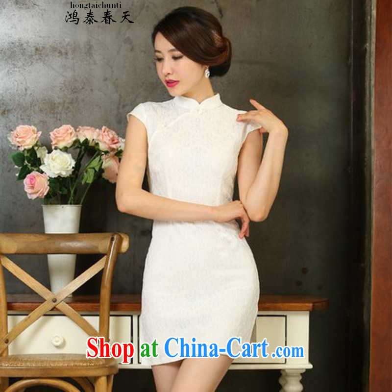 Hung Tai spring to the 2015 new spring and summer Stylish retro dresses improved daily dress dress 1129 white S