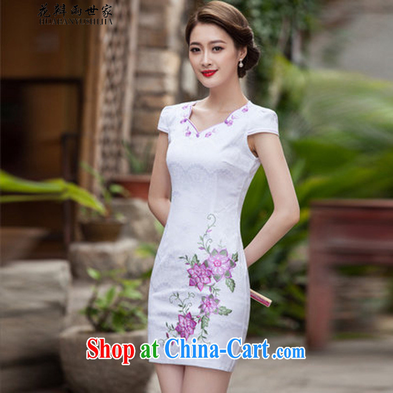 Petals rain family * 2015 new dresses summer stylish short, Retro dresses dresses daily dress cheongsam dress 1126 Map Color M