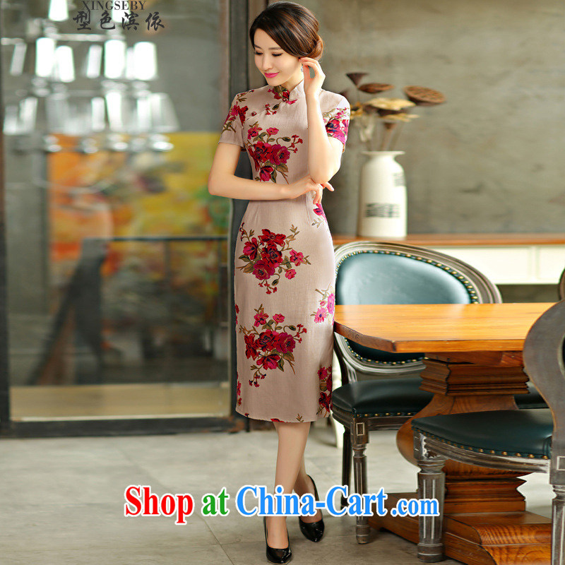 color transition in accordance with riverside 2015 spring and summer with retro beauty graphics thin short sleeves in the Code improved linen long cheongsam dress