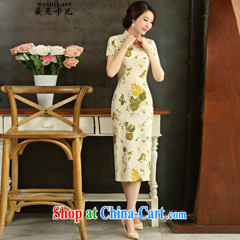 Ms Audrey EU, child care 2015 spring and summer beauty retro graphics thin short sleeves in the Code improved linen long cheongsam dress