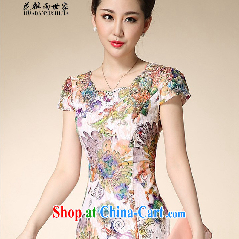 Petals rain family * 2015 new lace cheongsam retro elegant qipao dress improved stylish beauty mom with 1086 wind tail spend XL