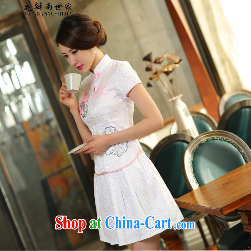 Flower Petals rain family _ 2015 new beauty routine retro long-sleeved improved stylish outfit two-part kit 1121 white short-sleeved S