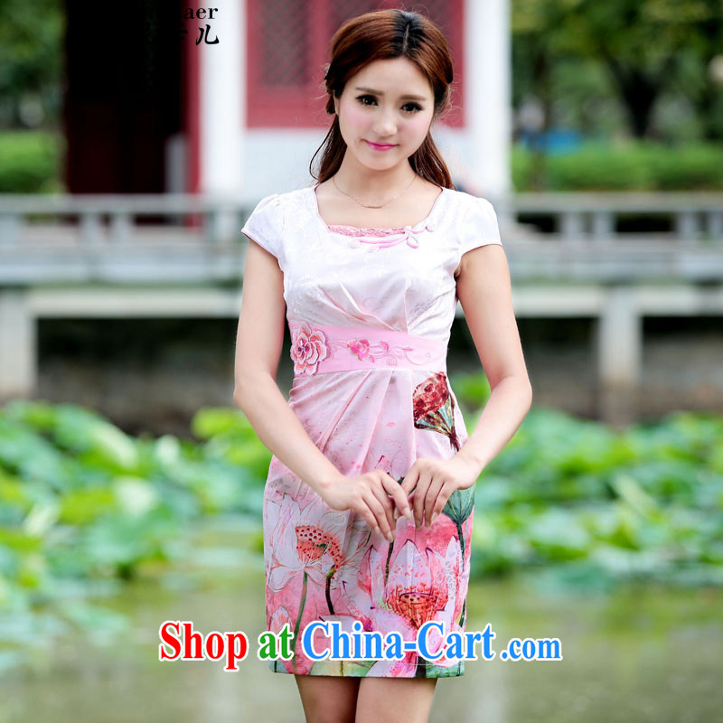 Ms Audrey EU, child _2015 female new Peacock dresses retro dress everyday Chinese improved stylish summer short cheongsam dress