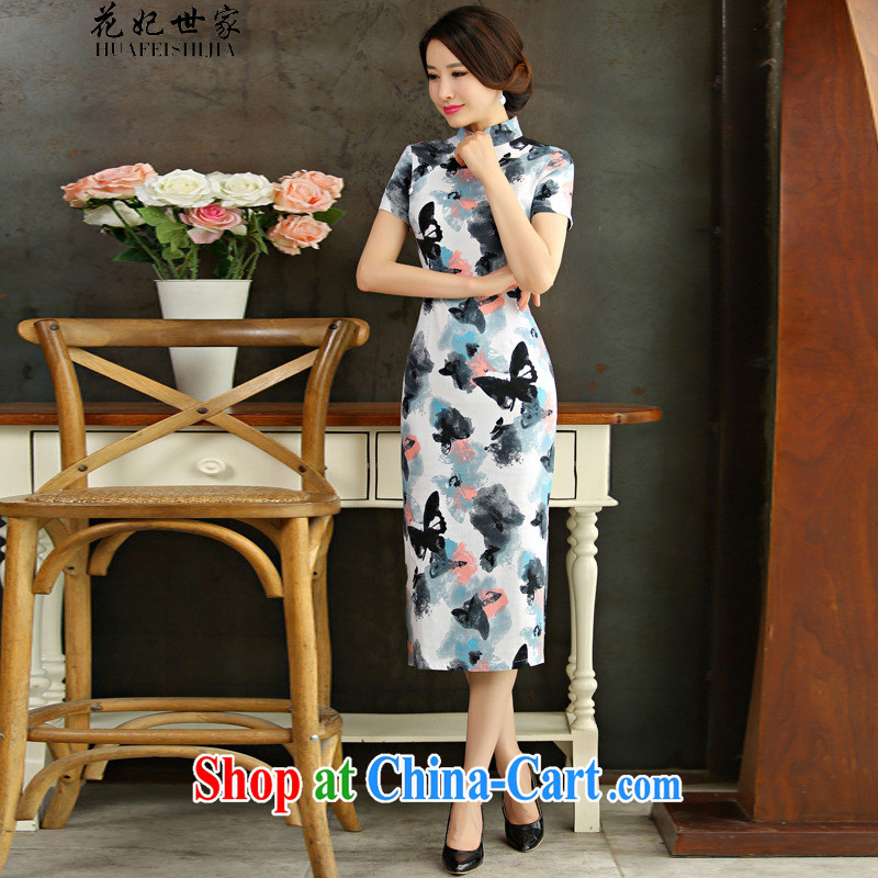 Take Princess saga: 2015 summer retro beauty in short sleeved long cheongsam dress the dish 9010 XL