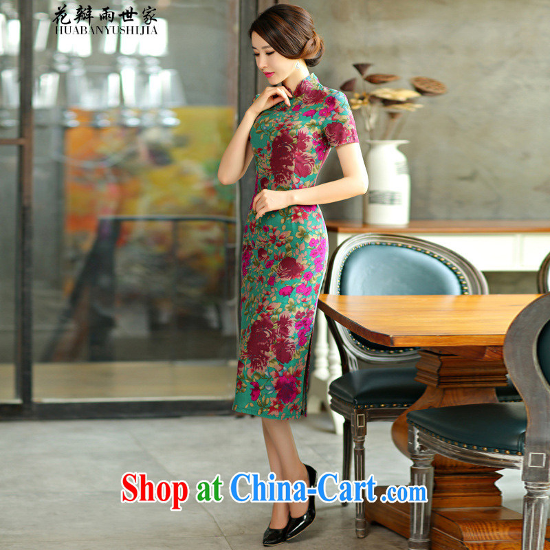 Petals rain saga 2015 spring and summer beauty retro graphics thin short sleeves in the Code improved linen long cheongsam dress Green Maze 9008 XXL