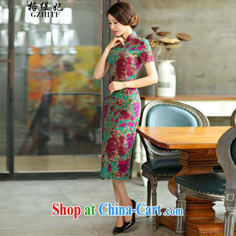 The economy as Princess Diana's '9010 real-time concept 2015 spring and summer beauty retro graphics thin short sleeves in the Code improved linen long cheongsam dress Green Maze 9008 L