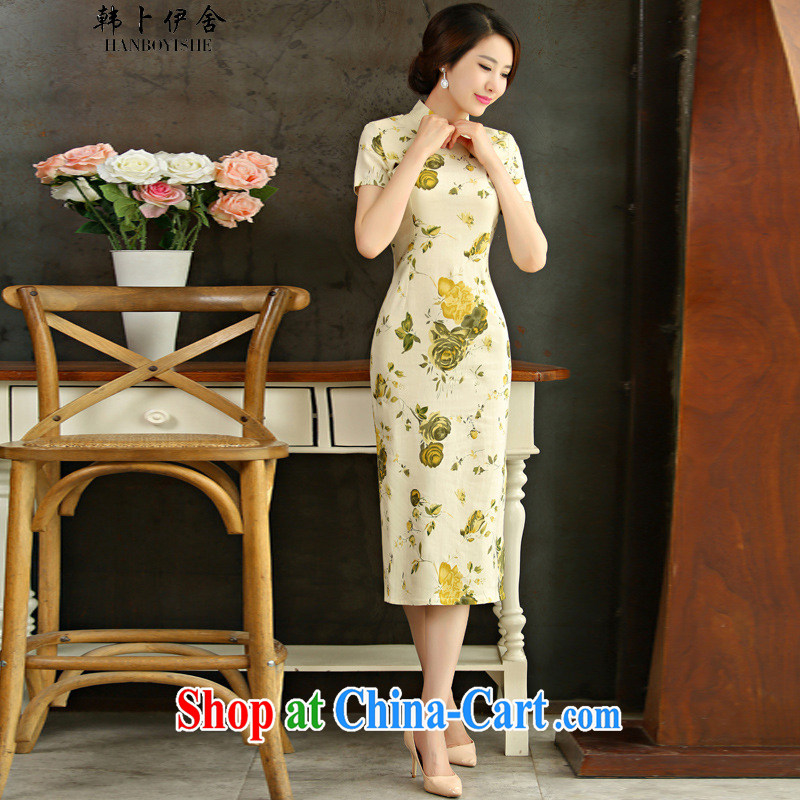 Korea, Lakhdar Brahimi; 9007 only 2015 spring and summer beauty retro graphics thin short sleeves in the Code improved linen long skirt outfit Huangmei 9012 M