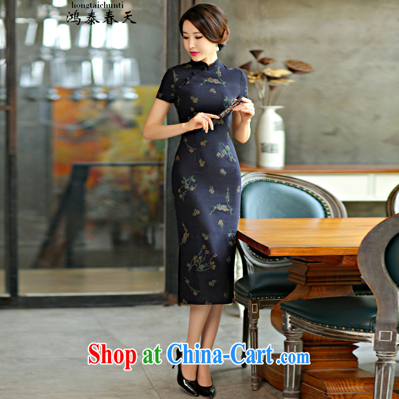 Leong Che-hung Tai spring ~ 9008 only 2015 spring and summer beauty retro graphics thin short sleeves in the Code improved linen long cheongsam dress Su Mei Lan 9007 M