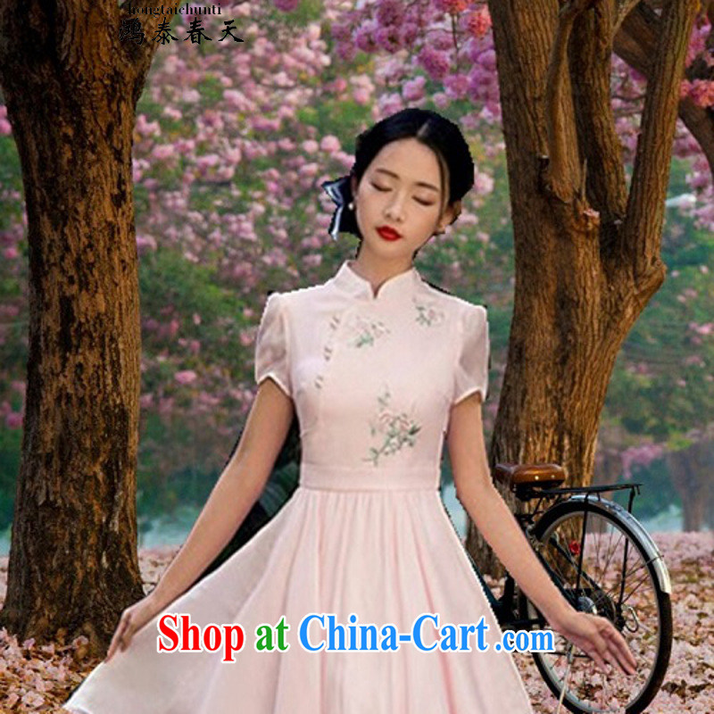 Leong Che-hung Tai spring to pre-sale light note 2015 summer new dresses retro literary ladies embroidered shaggy dresses skirts pink L