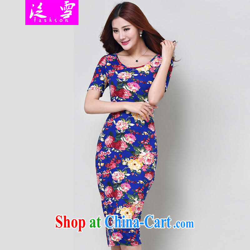 Snow and summer 2015 women new in Europe and America, the code stamp short-sleeved dresses Chinese qipao 9185 dark blue XL