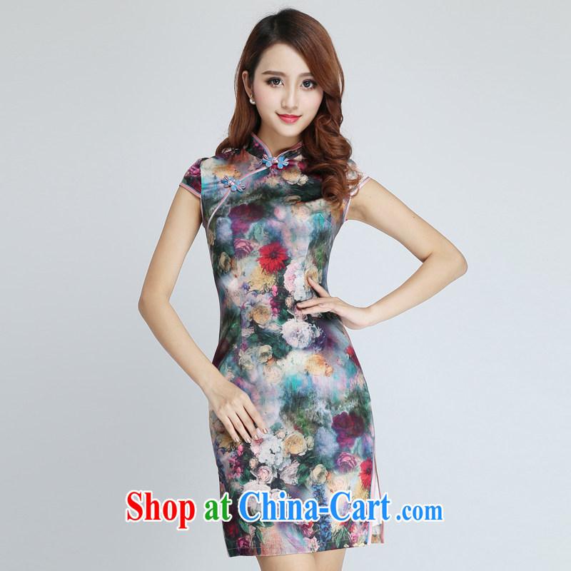 Classic summer upscale silk sauna silk everyday, qipao dresses beauty short retro improved Xiangyang spend XXL