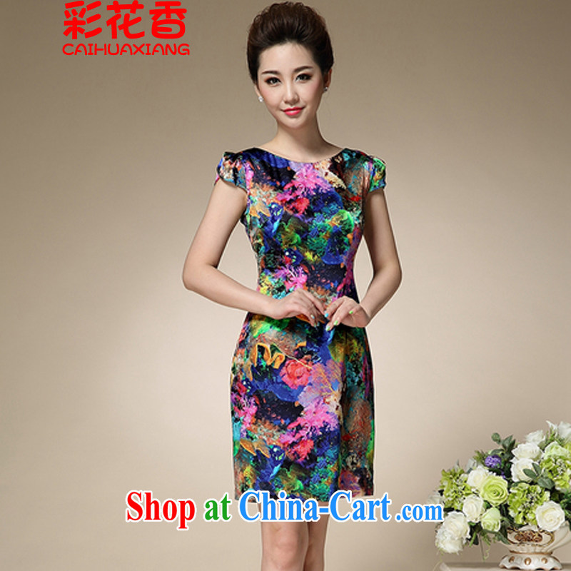 Colorful Flowers 2015 summer new stamp duty round-collar short-sleeve mom with silk cultivation temperament retro dresses 8996 blue stamp XXXL