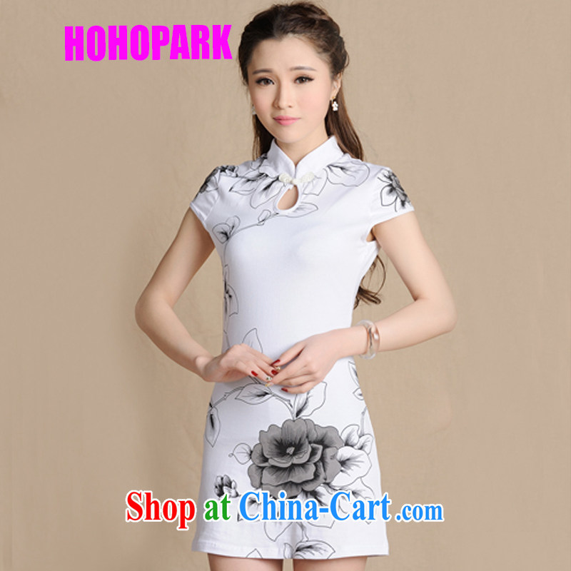 2015 summer new Ethnic Wind and stylish women Beauty painting dresses retro cotton robes women 5907 A white XL