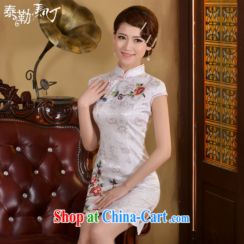 2015 daily outfit spring and summer improved stylish cultivating the waist graphics thin retro short cheongsam dress stamp dresses white XXL