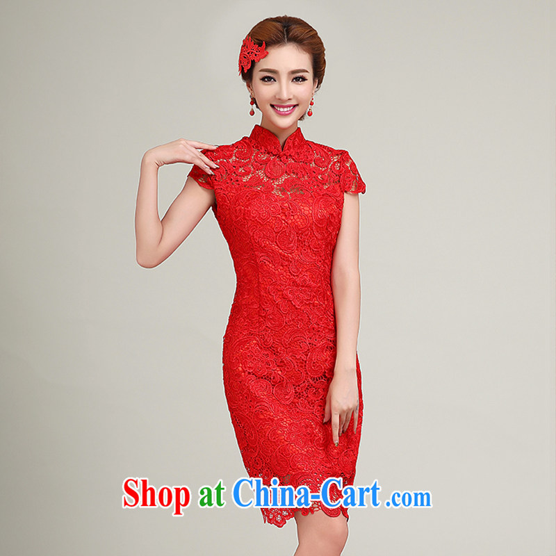 wedding dresses 2015 summer new wedding dresses short Chinese Dress red lace retro improved wedding bridal toast serving red to make the $30 does not return