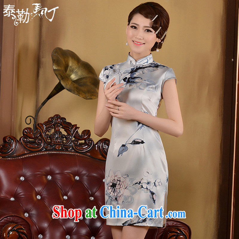2015 cheongsam short summer fashion, improved cultivation video thin-waist short, Retro daily outfit skirt white XL