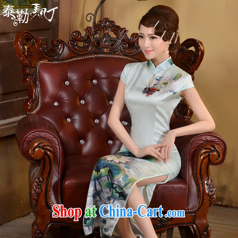 2015 long day dresses spring and summer new retro ethnic wind beauty graphics thin-waist dress cheongsam dress white XXL