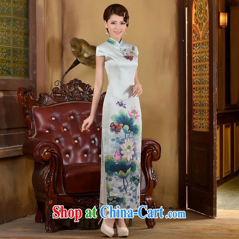 2015 long day dresses spring and summer new, Retro ethnic wind beauty graphics thin-waist dress cheongsam dress white XXL, Taylor Martin (TAILEMARTIN), online shopping