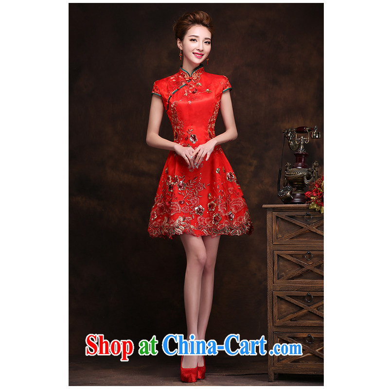 The beautiful yarn new dual-shoulder bag shoulder short cheongsam red lace stamp daily in short about two through the waist graphics thin bridal toast clothing factory direct