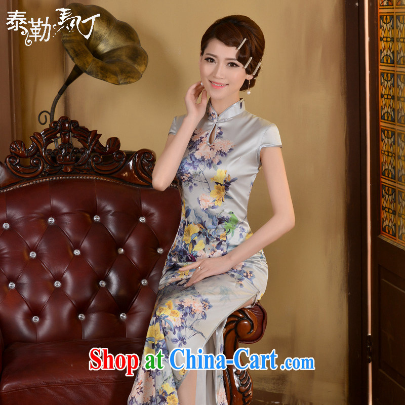 2015 cheongsam shirt spring and summer new, Retro beauty graphics thin-waist long cheongsam stylish ethnic wind white XXL