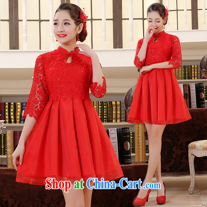 Stylish bridal toast serving short 2015 new wedding dresses lace, wedding dress red Q 1023