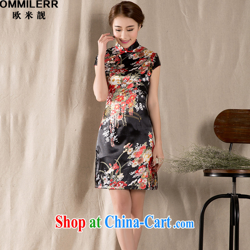 The beautiful 2015 new spring and summer short-sleeved Tang with hand-painted pastel dresses retro China wind girls 1227 photo color XXL