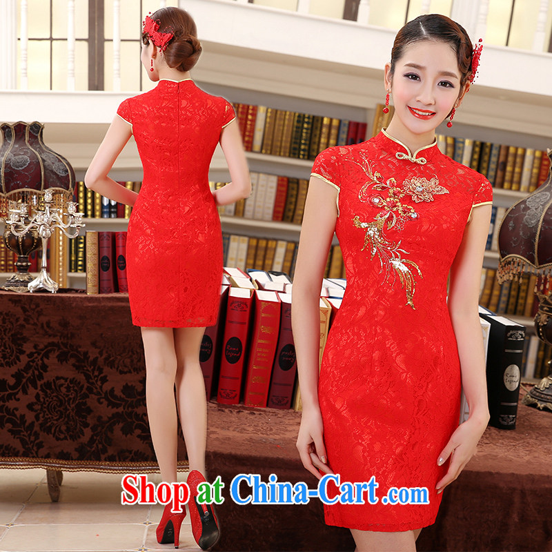 Impression Leigh 2015 new bride wedding toast clothing cheongsam dress beauty wedding dress red long Q 1024