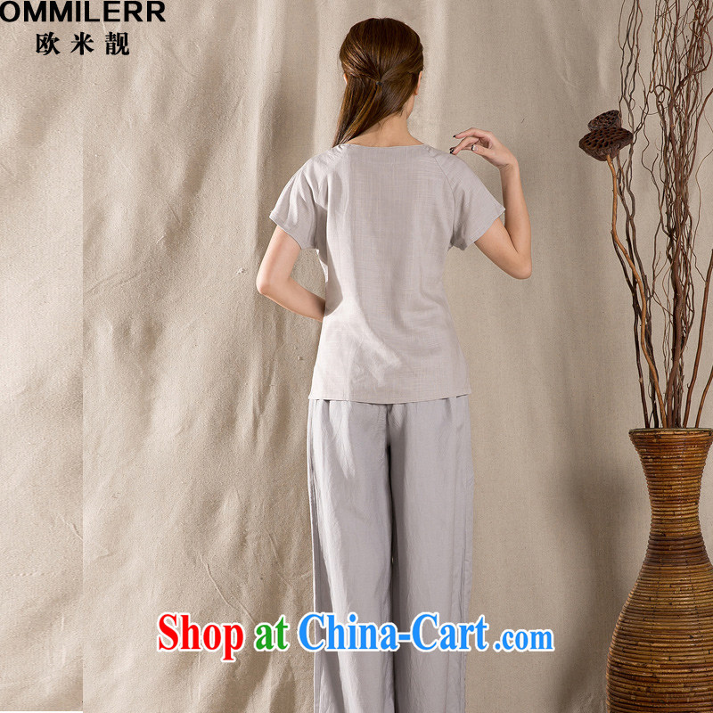 The beautiful 2015 summer new antique Chinese female improved stylish cotton Ms. Yau Ma Tei Tong with gray XXL, the beautiful (OMMILERR), shopping on the Internet