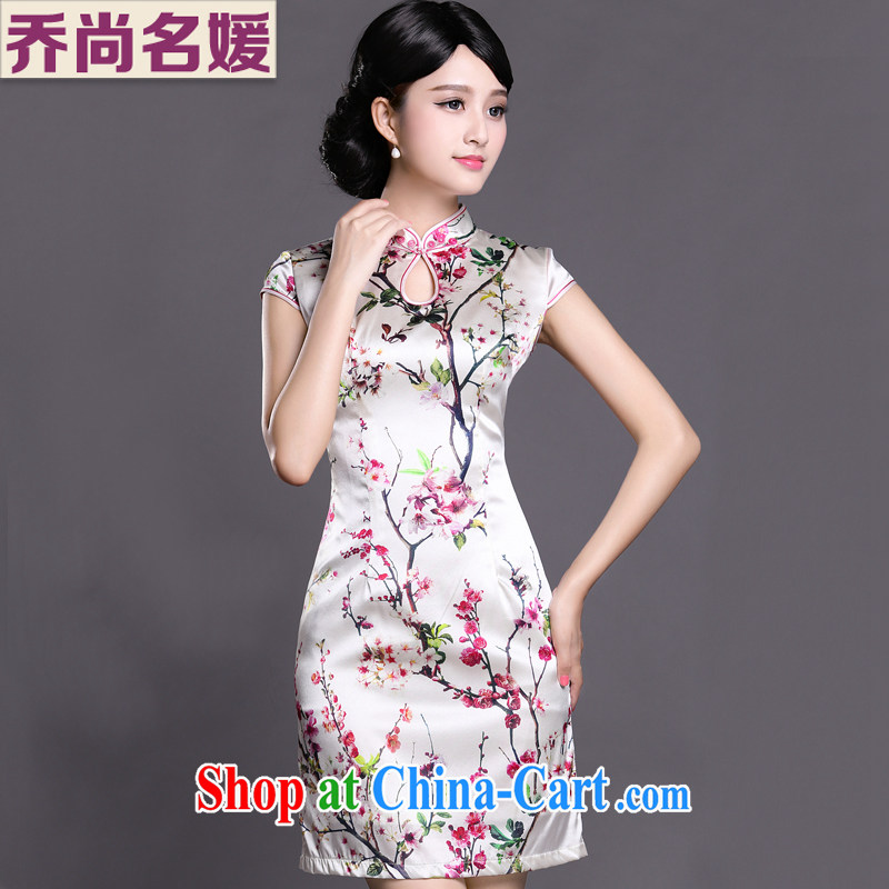 Joe is still name-yuan silk summer new short-sleeved improved cheongsam dress ZS 025 white S