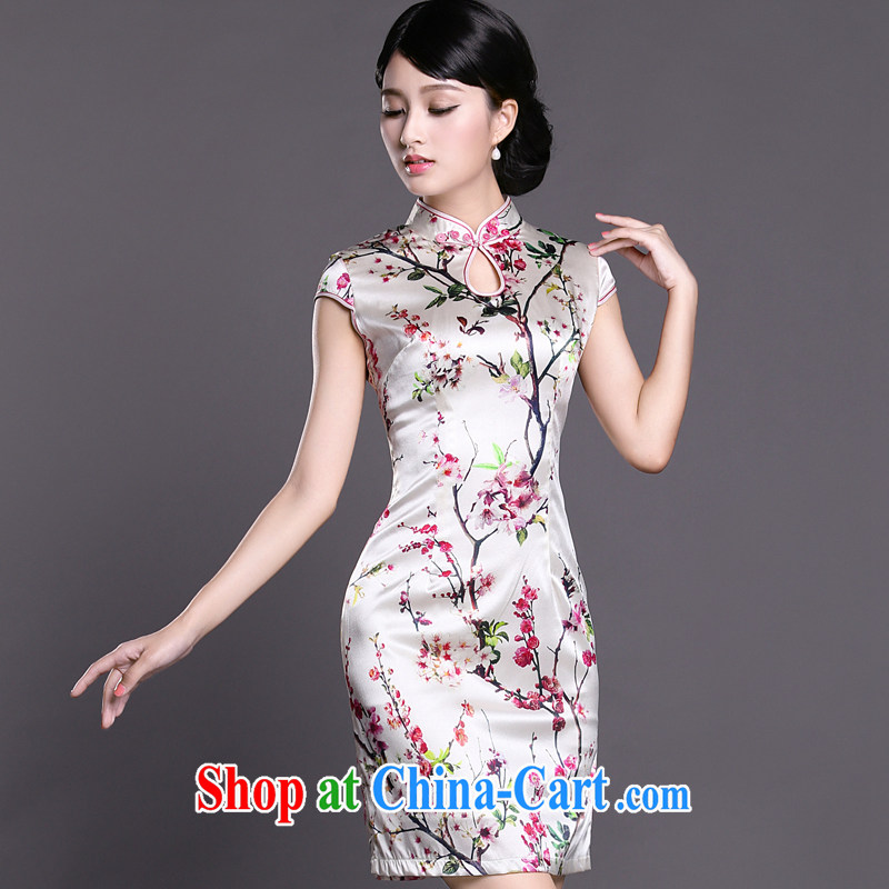 Joe is still name-yuan silk summer new short-sleeved improved cheongsam dress ZS 025 white S, CHOSHAN LADIES, shopping on the Internet