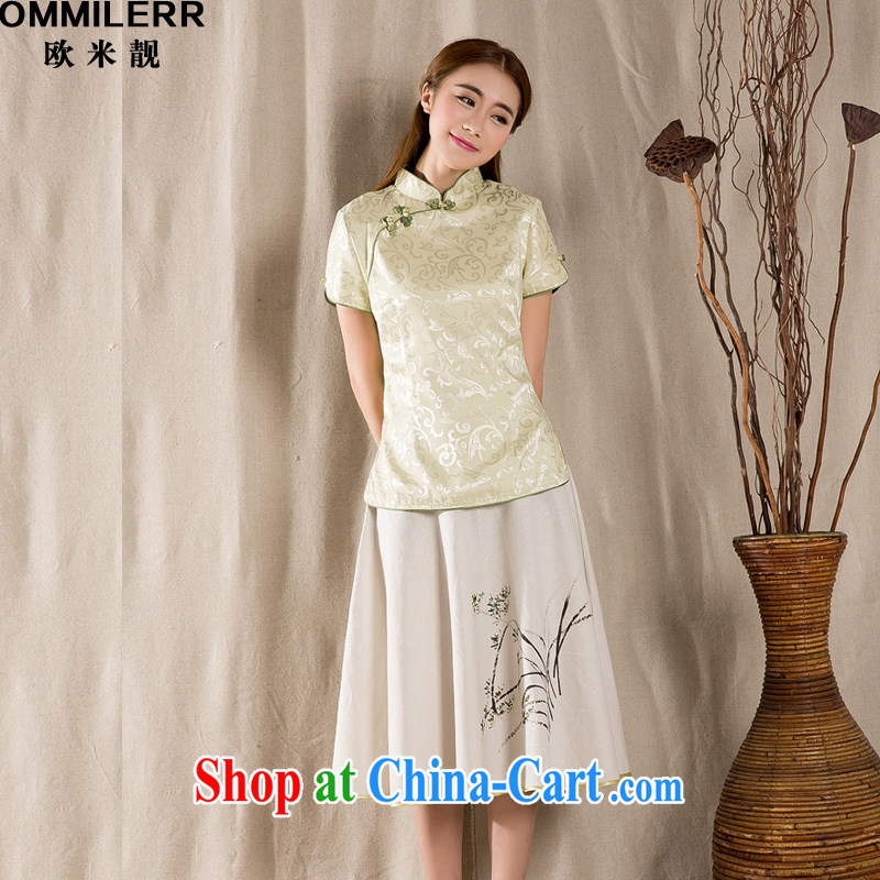 The beautiful 2015 summer New-snap embroidery female T-shirt China wind women antique Chinese green 1213 XXXL