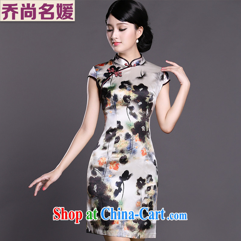 Joe is still name-yuan Silk Cheongsam temperament improved Tang Women's clothes ZS 030 white XXL