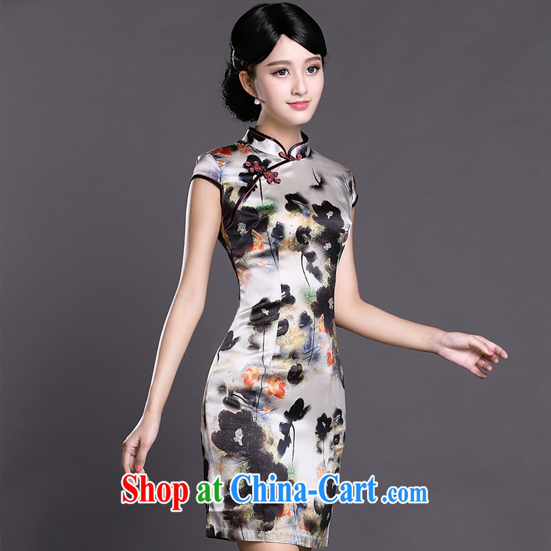 Joe is still name-yuan Silk Cheongsam temperament improved Tang Women's clothes ZS 030 white XXL, CHOSHAN LADIES, shopping on the Internet