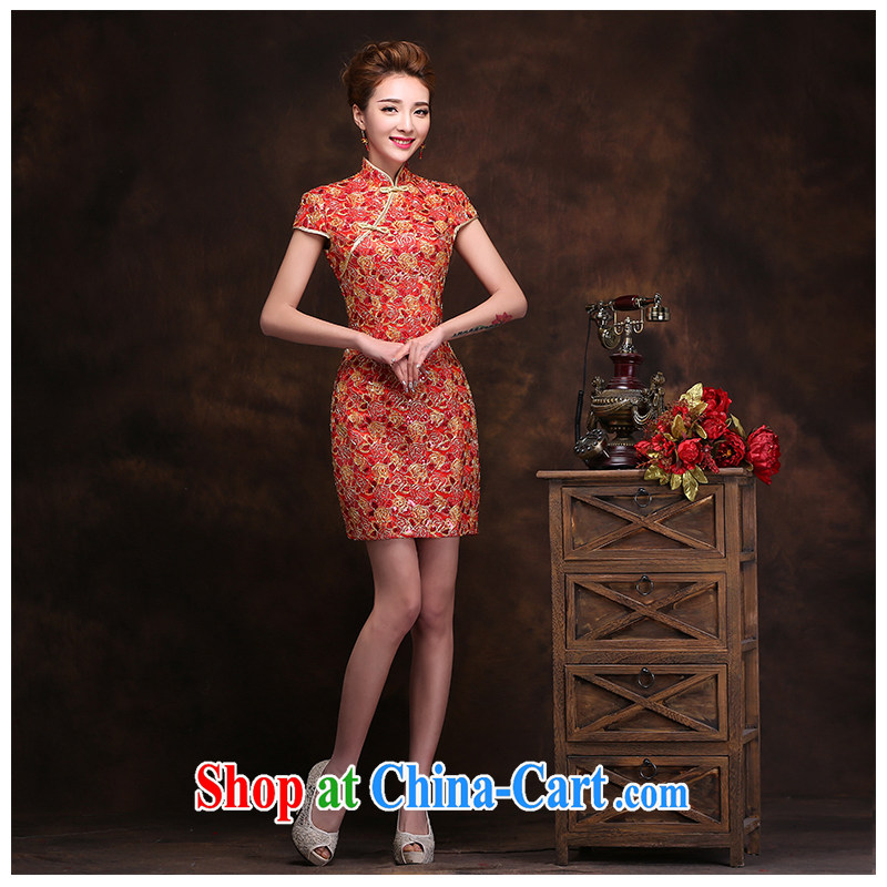 The beautiful yarn New Beauty dresses 2015 new stylish sexy graphics thin retro lace stamp short cheongsam simple fresh bridal beauty skirt