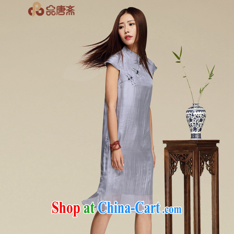 Mr Tang, Id al-Fitr improved cheongsam 2015 new summer sauna Silk Cheongsam dress retro dress upscale heavy Silk Cheongsam dress picture color XL