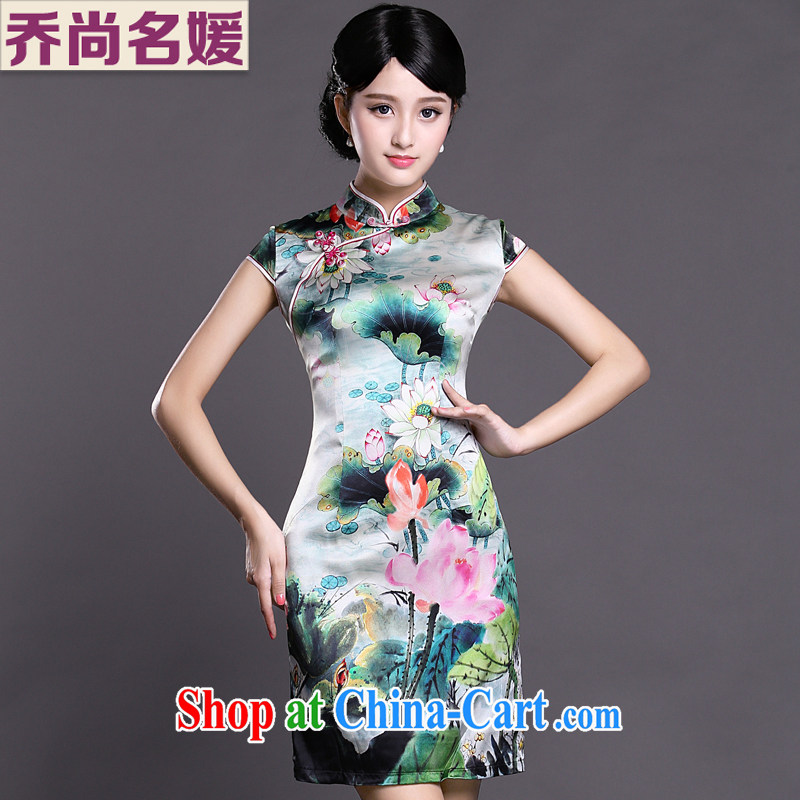 Joe is still name-yuan silk China wind cheongsam improved summer ZS 031 green XXL