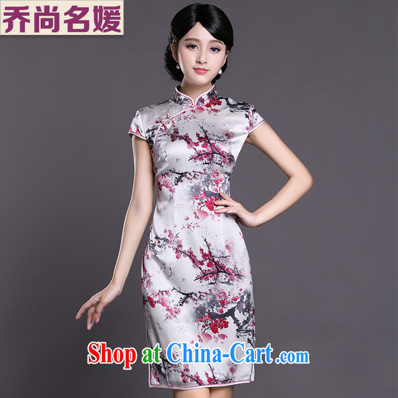 Joe is still name-yuan Silk Cheongsam dress summer China wind improved ZS 033 red XXL