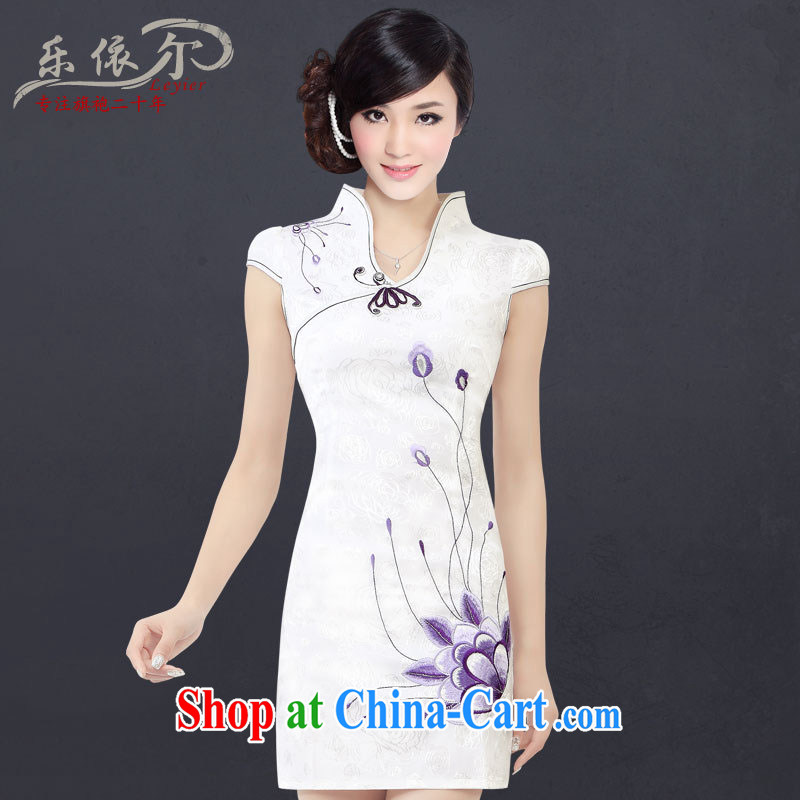 And, in accordance with embroidered short sleeves cultivating improved cheongsam retro landscape cheongsam dress female LYE 1301 white XXL