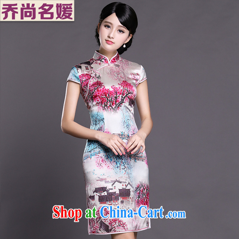 Joe is still name-yuan National wind cheongsam dress silk summer Ms. Tang replace ZS 038 red XXL
