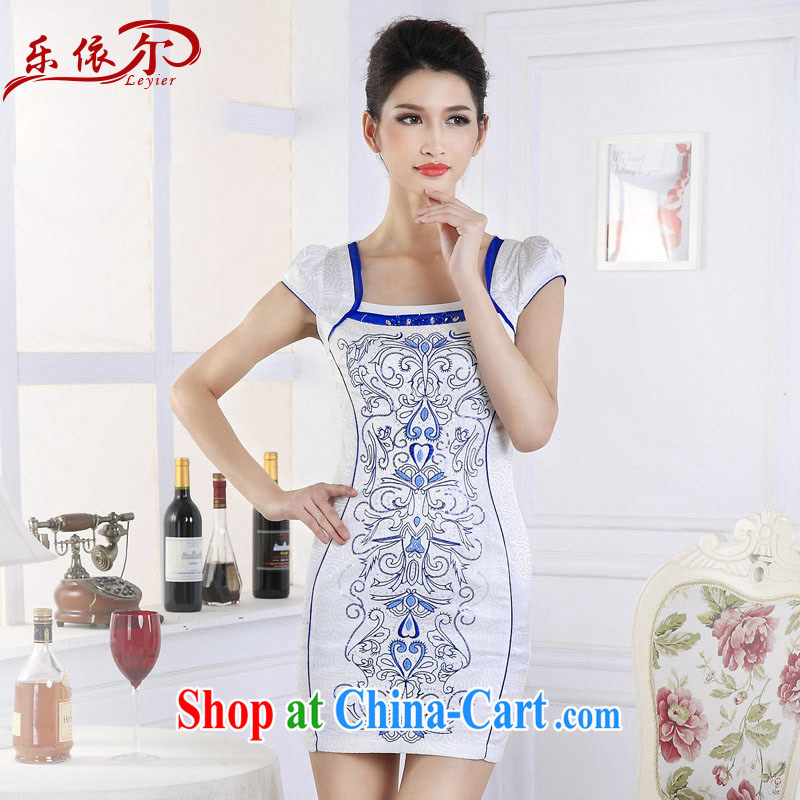 And, in accordance with antique embroidery girl cheongsam dress classic embroidery short sleeve cheongsam ethnic wind the drill LYE 66,661 blue flower XXL