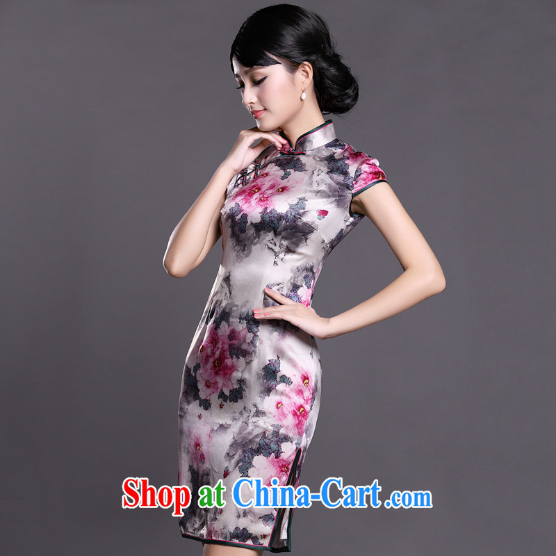 Joe is still name-yuan style cheongsam dress silk improved summer ZS 042 white S, CHOSHAN LADIES, shopping on the Internet