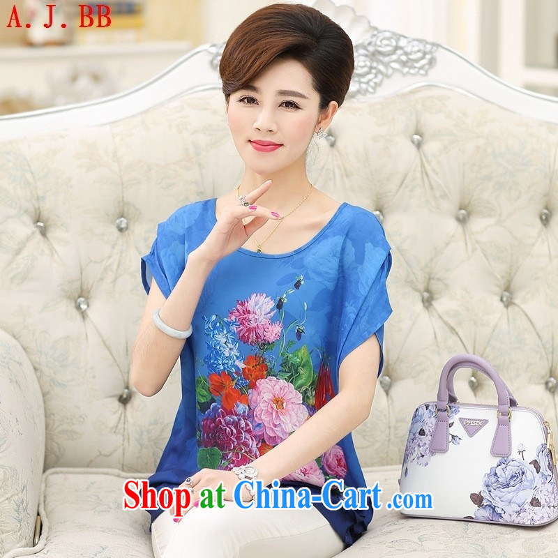 Black butterfly summer middle-aged and older mothers with silk short-sleeved T-shirt female middle-aged female large code stamp sauna silk short-sleeved T-shirt, red XXXL