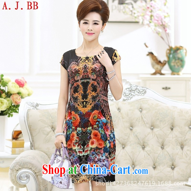 Black butterfly 2015 new summer older stamp round-collar mom with short-sleeved style dress girls black 4XL, A . J . BB, shopping on the Internet