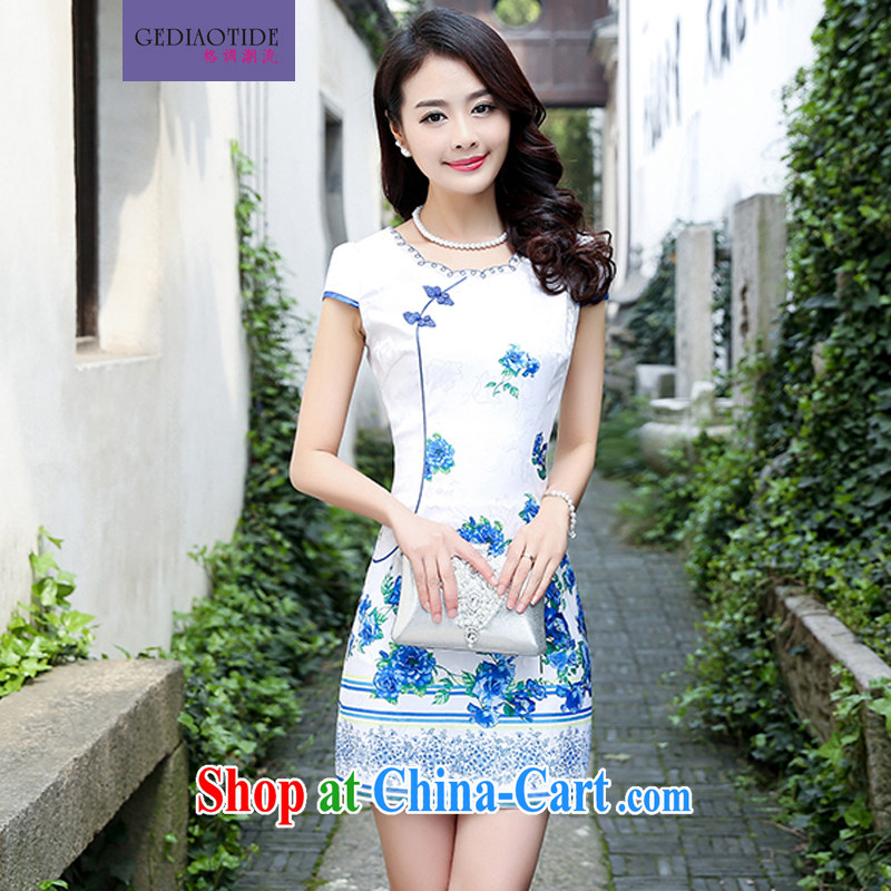 Style trends 2015 summer women's clothing new ethnic wind Chinese jacquard retro beauty style graphics thin short-sleeve package and cheongsam Chinese dresses blue rose L
