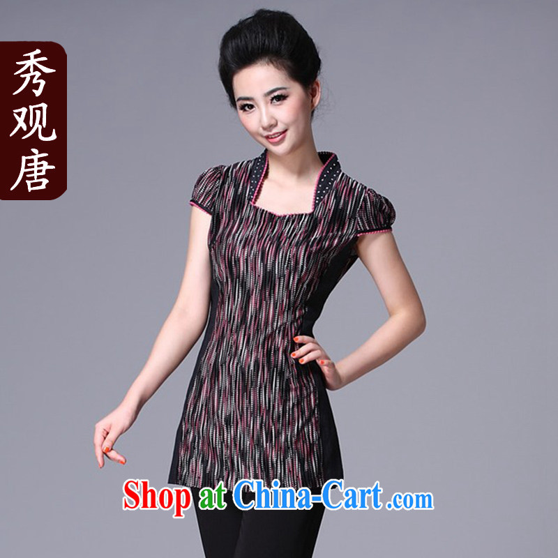 The CYD HO Kwun Tong' color following the Chinese qipao T-shirt Chinese, summer/ethnic wind and stylish Chinese improved L