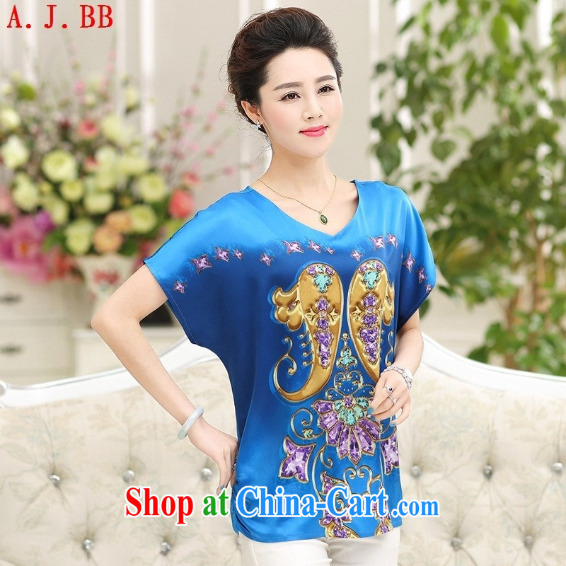 Black butterfly 2015 summer silk shirt large, middle-aged mother with round-collar short-sleeve sauna T silk shirts, older with pink XXXL