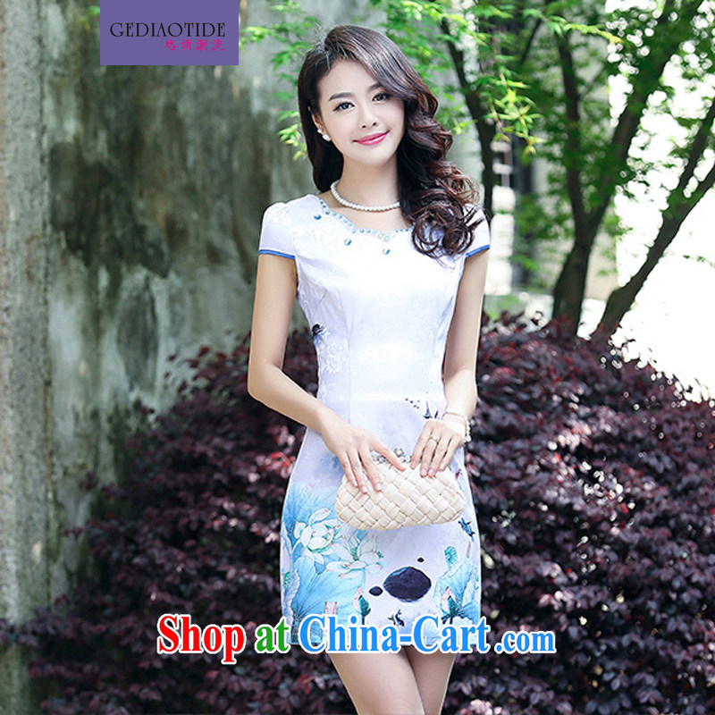 Style trends 2015 summer women's clothing new ethnic wind Chinese stamp retro beauty style graphics thin short-sleeve package and cheongsam Chinese dresses light purple L