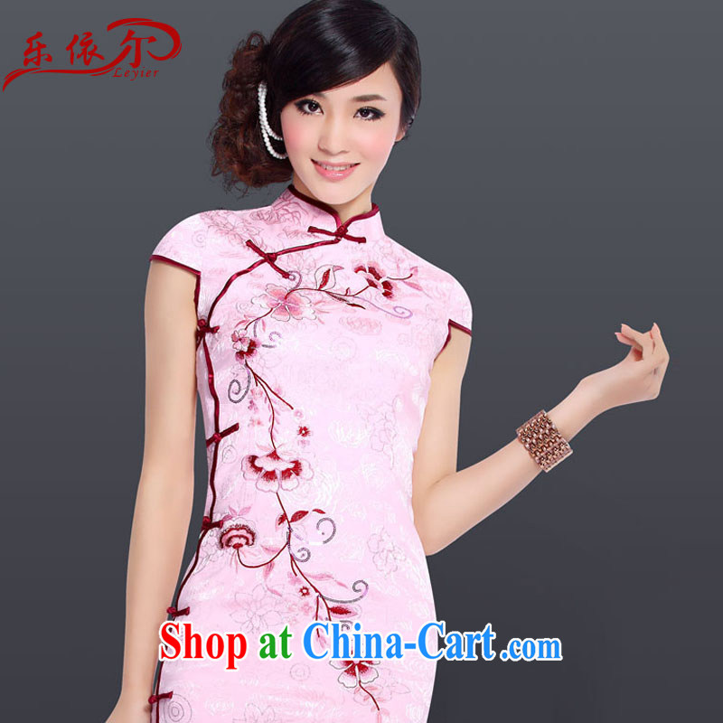 And, in accordance with modern beauty embroidered short sleeves cheongsam improved, for Chinese Antique cheongsam dress female LYE 5089 pink XXL