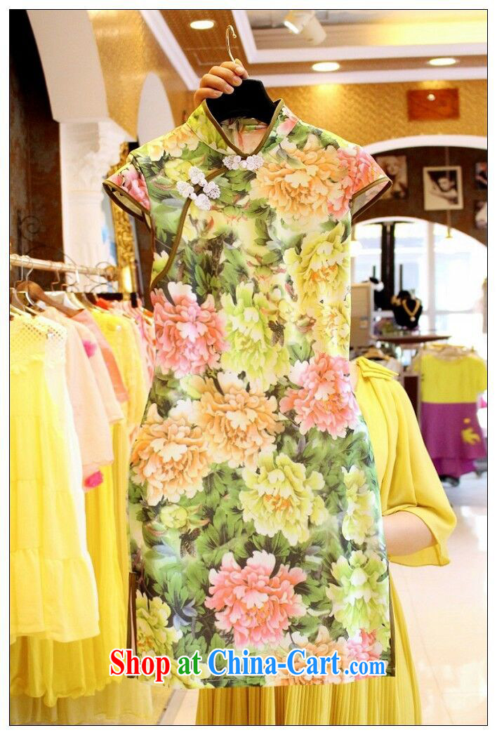 Mi-hee's 2015 summer new Ethnic Wind stamp tray back on the truck-waist graphics thin cheongsam dress yellow S pictures, price, brand platters! Elections are good character, the national distribution, so why buy now enjoy more preferential! Health