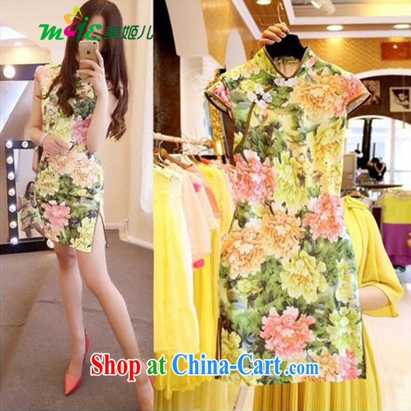 Mi-hee's 2015 summer new Ethnic Wind stamp tray back on the truck-waist graphics thin cheongsam dress yellow S